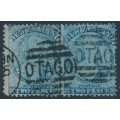 NEW ZEALAND - 1864 2d pale blue QV Chalon, perf. 12½, large star watermark, pair, used – SG # 113