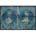 NEW ZEALAND - 1865 2d deep blue QV Chalon, perf. 12½, large star watermark, pair, used – SG # 114