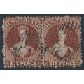 NEW ZEALAND - 1864 6d red-brown QV Chalon, perf. 12½, large star watermark, pair, used – SG # 122