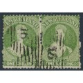 NEW ZEALAND - 1864 1/- yellow-green QV Chalon, perf. 12½, large star watermark, pair, used – SG # 125