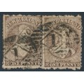 NEW ZEALAND - 1873 1d brown QV Chalon, perf. 12½, large star watermark, pair, used – SG # 132a