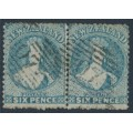 NEW ZEALAND - 1873 6d pale blue QV Chalon, perf. 12½, large star watermark, pair, used – SG # 136