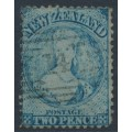 NEW ZEALAND - 1864 2d pale blue QV Chalon, perf. 12½:12½, large star watermark, used – SG # 113
