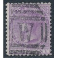 NEW ZEALAND - 1878 1d mauve-lilac QV (1st Sideface), NZ star watermark, perf. 12:11½, used – SG # 180