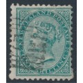 NEW ZEALAND - 1878 1/- green QV (1st Sideface), NZ star watermark, perf. 12:11½, used – SG # 184