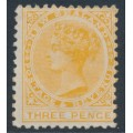 NEW ZEALAND - 1888 3d yellow QV (2nd Sideface), NZ star watermark (7mm), perf. 12:11½, MH – SG # 198