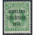 NEW ZEALAND - 1913 ½d deep green KEVII, Auckland Exhibition overprint, MH – SG # 412