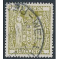 NEW ZEALAND - 1950 15/- sage-green Fiscal, inverted multiple NZ star watermark, used – SG # F202w