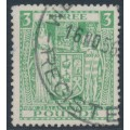 NEW ZEALAND - 1952 £3 green Fiscal, inverted multiple NZ star watermark, used – SG # F208w