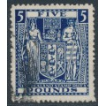 NEW ZEALAND - 1950 £5 indigo-blue Fiscal, inverted multiple NZ star watermark, used – SG # F211w
