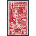 NEW ZEALAND - 1931 1d+1d scarlet Smiling Boy Health Stamp, MNH – SG # 546