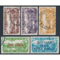 NEW ZEALAND - 1931-1934 3d to 7d Airmail set of 3 plus two overprints, used – SG # 548-551+554