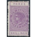 NEW ZEALAND - 1895 3/- mauve QV Stamp Duty, perf. 11, NZ star watermark (7mm), MH – SG # F58