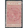 NEW ZEALAND - 1895 4/- brown-red QV Stamp Duty, perf. 11, NZ star watermark (7mm), MH – SG # F59