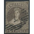 NEW ZEALAND - 1862 6d brown QV Chalon, imperforate, large star watermark, used – SG # 42