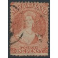 NEW ZEALAND - 1866 1d pale orange-vermilion QV Chalon, perf. 12½, star watermark, used – SG # 111