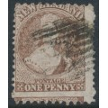 NEW ZEALAND - 1871 1d brown QV Chalon, perf. 10:12½, large star watermark, used – SG # 128