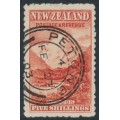 NEW ZEALAND - 1899 5/- vermilion Mt. Cook, no watermark, perf. 11:11, used – SG # 270