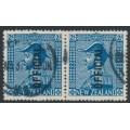 NEW ZEALAND - 1928 2/- light blue KGV Admiral, o/p OFFICIAL, horizontal pair, used – SG # O112