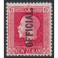 NEW ZEALAND - 1916 6d carmine KGV, perf. 14:13½, o/p OFFICIAL, MH – SG # O102