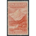 NEW ZEALAND - 1898 5/- vermilion Mount Cook, no watermark, perf. 14½:14½, MH – SG # 259