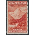 NEW ZEALAND - 1906 5/- red Mount Cook, sideways NZ star watermark, perf. 14:14, MH – SG # 329a