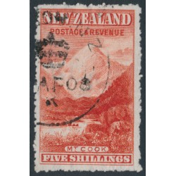 NEW ZEALAND - 1906 5/- red Mount Cook, sideways NZ star watermark, perf. 14:14, used – SG # 329a
