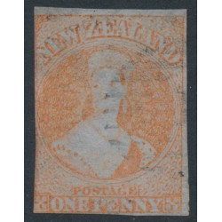NEW ZEALAND - 1855 1d bright red QV Chalon, no watermark, imperforate, blue paper, used – SG # 4