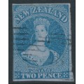 NEW ZEALAND - 1856 2d blue QV Chalon, no watermark, imperforate, blue paper, used – SG # 5
