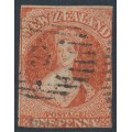 NEW ZEALAND - 1864 1d vermilion QV Chalon, imperforate, NZ watermark, used – SG # 97