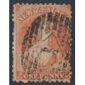 NEW ZEALAND - 1866 1d orange-vermilion QV Chalon, perf. 12½, star watermark, used – SG # 111