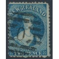 NEW ZEALAND - 1866 2d deep blue QV Chalon, perf. 12½, star watermark, used – SG # 114