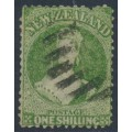 NEW ZEALAND - 1864 1/- yellow-green QV Chalon, perf. 12½, star watermark, used – SG # 125