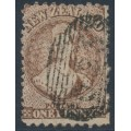 NEW ZEALAND - 1871 1d brown QV Chalon, perf. 10:12½, star watermark, used – SG # 128