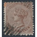 NEW ZEALAND - 1874 3d brown QV (1st Sideface), NZ star watermark, perf. 10:12½, used – SG # 161