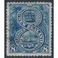 NEW ZEALAND - 1898 8d indigo Maori War Canoe, perf. 15:15, no watermark, used – SG # 255