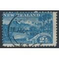NEW ZEALAND - 1903 2½d blue Lake Wakatipu, perf. 11, reversed watermark, used – SG # 308x