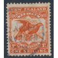NEW ZEALAND - 1908 1/- orange-red Birds, perf. 14:15, single watermark, used – SG # 385