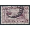 NEW ZEALAND - 1903 9d purple Pink Terrace, perf. 11, reversed watermark, used – SG # 314x
