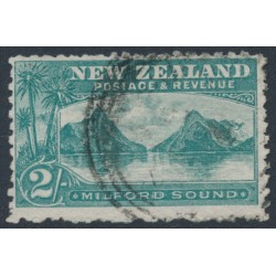 NEW ZEALAND - 1903 2/- green Milford Sound, perf. 11, inverted watermark, used – SG # 316w