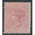 NEW ZEALAND - 1878 2d rose QV (1st Sideface), NZ star watermark, perf. 12:11½, MH – SG # 181