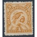 NEW ZEALAND - 1906 3d bistre-brown Huia, perf. 14:14, single watermark, MH – SG # 321