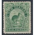NEW ZEALAND - 1898 6d green Kiwi, perf. 14:14, no watermark, MH – SG # 254