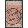 NEW ZEALAND - 1882 9/- orange QV Stamp Duty, perf. 12:12, NZ star watermark (6mm), used – SG # F18