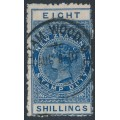 NEW ZEALAND - 1903 8/- blue QV Stamp Duty, perf. 11:11, single watermark, used – SG # F74
