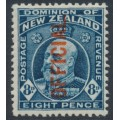 NEW ZEALAND - 1916 8d indigo-blue KEVII, overprinted OFFICIAL, MH – SG # O76