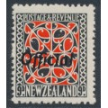 NEW ZEALAND - 1943 9d scarlet/black Maori Design, perf. 14:15, o/p OFFICIAL, MH – SG # O130