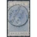 NEW ZEALAND - 1882 7/- ultramarine QV Stamp Duty, perf. 12:12, NZ star watermark (6mm), used – SG # F15