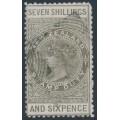 NEW ZEALAND - 1882 7/6 bronze-grey QV Stamp Duty, perf. 12:12, NZ star watermark (6mm), used – SG # F16