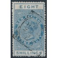 NEW ZEALAND - 1882 8/- blue QV Stamp Duty, perf. 12:12, NZ star watermark (6mm), used – SG # F17